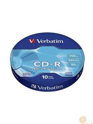 CD-R VERBATIM CAPACIDAD 700MB VELOCIDAD 52X PACK 10 UNIDADES