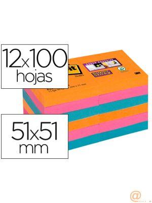 BLOC DE NOTAS ADHESIVAS QUITA Y PON POST-IT SUPER STICKY 51X51 MM PACK DE 12 BLOC COLORES INTENSOS SURTIDOS