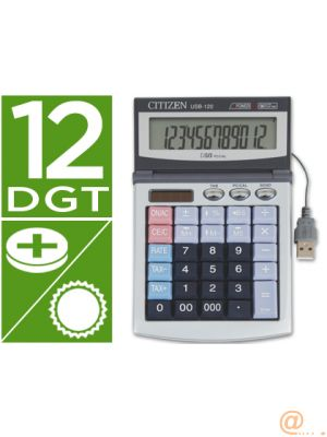 CALCULADORA CITIZEN SOBREMESA USB-120 12 DIGITOS CON CABLE USB PARA CONEXION A PC