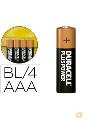 DURACELL PILAS PLUS POWER LR03 ALCALINAS AAA 1.5V PACK-4