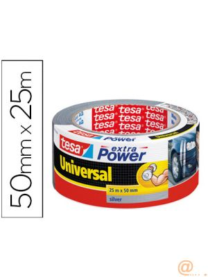 CINTA ADHESIVA TESA AMERICANA 25 MT X 50 MM EXTRA POWER COLOR PLATA