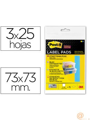 ETIQUETA ADHESIVA POST-IT SUPER STICKY REMOVIBLE PACK DE 1 BLOC AZUL Y 2 AMARILLO 73X73MM
