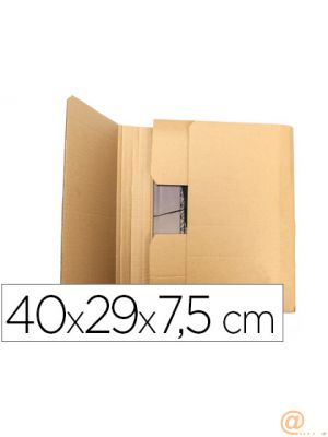 CAJA PARA EMBALAR Q-CONNECT LIBRO MEDIDAS 400X290X75 MM ESPESOR CARTON 3 MM