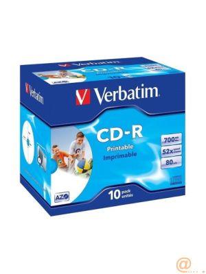 CD-R VERBATIM IMPRIMIBLE CAPACIDAD 700MB VELOCIDAD 52X PACK 10 UNIDADES
