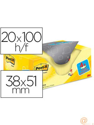 BLOC DE NOTAS ADHESIVAS QUITA Y PON POST-IT SUPER STICKY AMARILLO CANARIO 38X51 MM PACK PROMOCIONAL 20+4 GRATIS
