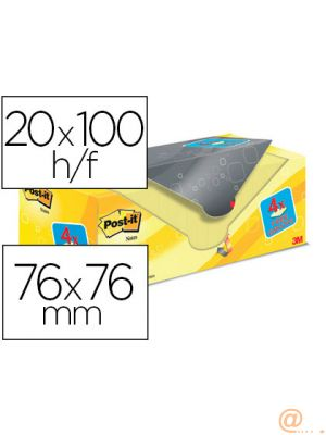 BLOC DE NOTAS ADHESIVAS QUITA Y PON POST-IT SUPER STICKY AMARILLO CANARIO 76X76 MM PACK PROMOCIONAL 20+4 GRATIS