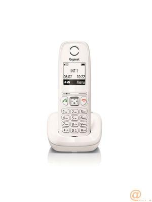 TELÉFONO DECT SIEMENS GIGASET AS405 - BLANCO - AGENDA 100 NÚMEROS - PLUG AND PLAY - PANTALLA RETROILUMINADA 1.8''/4.5CM - DESPERTADOR - 2*PILAS AAA