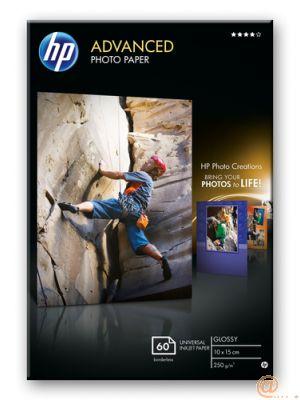 HP PAPEL FOTOGRÁFICO SATINADO AVANZADO 250G/M2, 10X15CM, SIN BORDES, 60 HOJAS