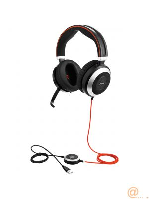 Jabra Evolve 80 MS stereo - Headset - full size - wired - active noise cancelling - 3.5 mm jack