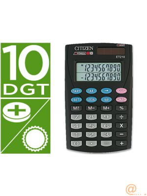 CALCULADORA CITIZEN BOLSILLO ET-210 10 DIGITOS DOBLE PANTALLA CON TECLA DE IMPUESTOS