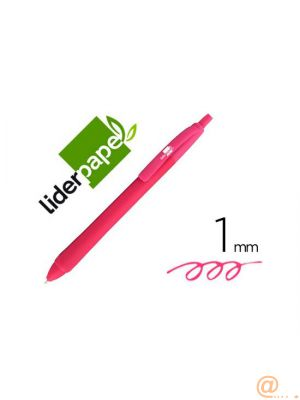 BOLIGRAFO LIDERPAPEL GUMMY TOUCH RETRACTIL 1,0 MM TINTA ROSA