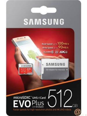 Micro SD512GB EVO+w SD Adapter class 10