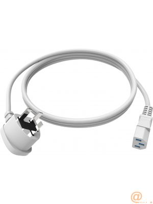 VISION 2m White UK IEC Mains Power cable