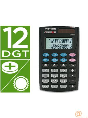 CALCULADORA CITIZEN BOLSILLO ET-220 12 DIGITOS DOBLE PANTALLA CON TECLA DE IMPUESTOS