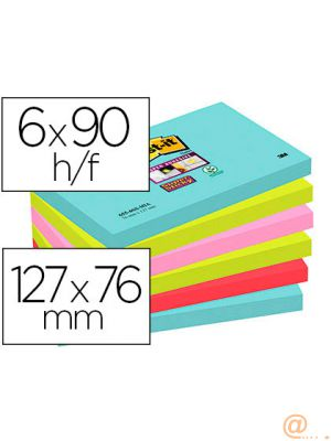 BLOC DE NOTAS ADHESIVAS QUITA Y PON POST-IT SUPER STICKY 76X127 MM CON 90 HOJAS PACK DE 6 UNIDADES COLORES MIAMI