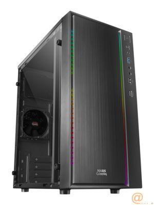 CAJA SEMITORRE MARS GAMING MCM NEGRA - USB 3.0 / USB 2.0 - HD AUDIO+MIC - VENTANA LATERAL ACRILICA - ILUMNINACIÓN RGB 16 MODOS - MICRO ATX/MINI ITX