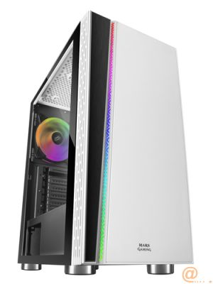 CAJA SEMITORRE MARS GAMING MC8W WHITE - USB3.0 - USB2.0 - HD AUDIO+MIC - VENTILADOR RGB CHROMA - LATERAL CRISTAL TEMPLADO - ATX/MICROATX/MINI-ITX