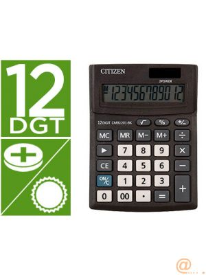 CALCULADORA CITIZEN SOBREMESA BUSINESS LINE ECO EFICIENTE SOLAR Y PILAS 12 DIGITOS 136X100X32 MM