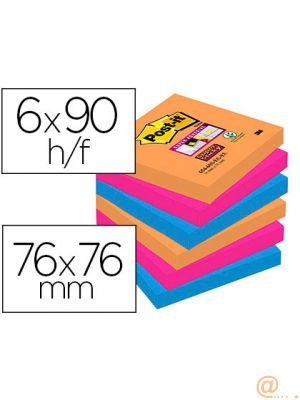 BLOC DE NOTAS ADHESIVAS QUITA Y PON POST-IT SUPER STICKY 76X76 MM CON 90 HOJAS PACK DE 6 UNIDADES COLORES BANGKOK