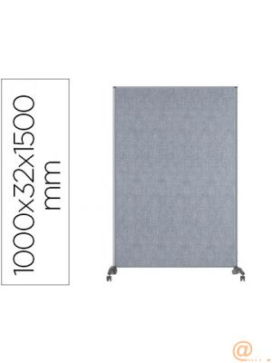 MAMPARA SEPARATORIA BI-OFFICE EVOLUTION SOUND PROOF DOBLE CARA CON RUEDAS MARCO DE ALUMINIO TAPIZADO GRIS 100 X