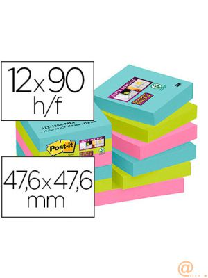 BLOC DE NOTAS ADHESIVAS QUITA Y PON POST-IT SUPER STICKY 47,6X47,6 MM CON 90 HOJAS PACK DE 12 UNIDADES COLORES