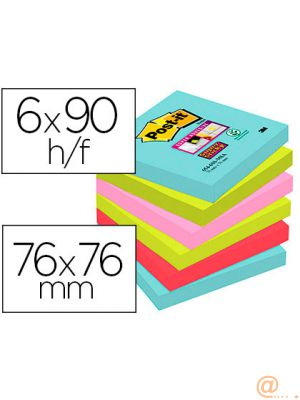 BLOC DE NOTAS ADHESIVAS QUITA Y PON POST-IT SUPER STICKY 76X76 MM CON 90 HOJAS PACK DE 6 UNIDADES COLORES MIAMI