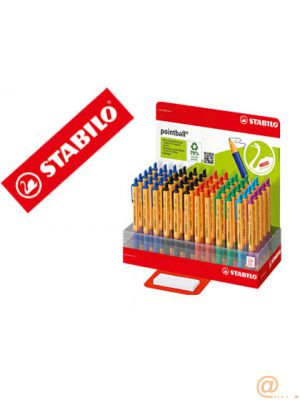 BOLIGRAFO STABILO POINTBALL 0,5 MM RETRACTIL EXPOSITOR DE 60 COLORES SURTIDOS