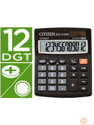 CALCULADORA CITIZEN SOBREMESA SDC-812 BN ECO EFICIENTE SOLAR Y A PILAS 12 DIGITOS 124 X 102 X 25 MM NEGRO