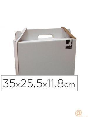 CAJA MALETIN CON ASA Q-CONNECT CARTON PARA ENVIO Y TRANSPORTE 350X118X255 MM