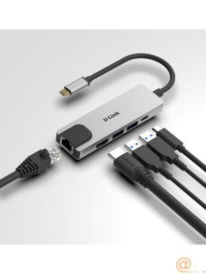 Hub USB‑C 5 en 1 con HDMI/Ethernet y suministro eléctrico 2 x USB 3.0, HDMI, USB-C, Ethernet Gigabit (OTG)
